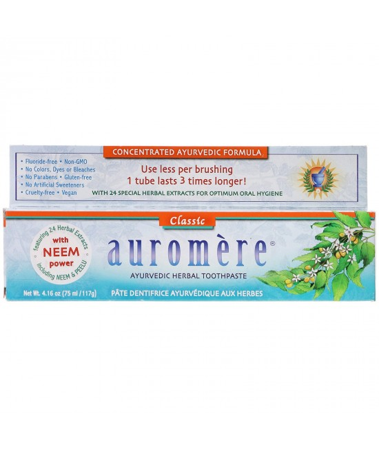 Auromere, Ayurvedic Herbal Toothpaste, Classic, 4.16 oz (117 g)