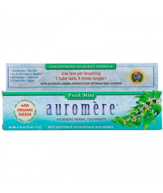 Auromere, Ayurvedic Herbal Toothpaste, Fresh Mint, 4.16 oz (117 g)